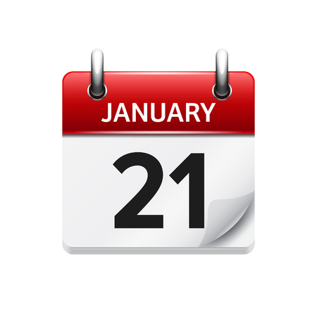 21: January 21. Vector flat daily calendar icon. Date and time, day, month. Holiday. Illustration