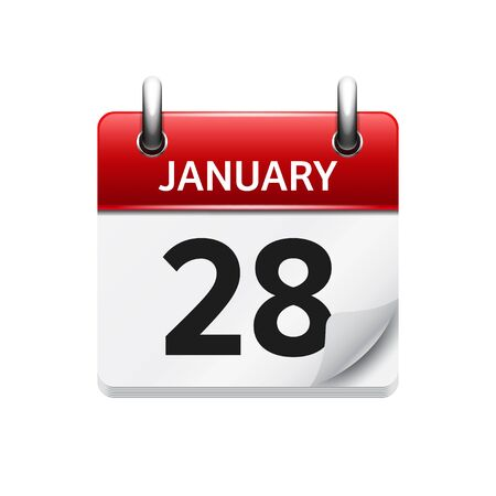 calendar day: January 28. Vector flat daily calendar icon. Date and time, day, month. Holiday.