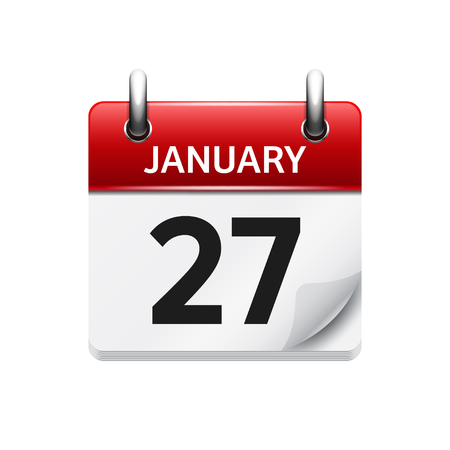 27: January 27. Vector flat daily calendar icon. Date and time, day, month. Holiday.