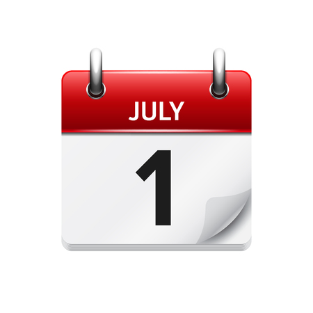time of day: July  1. Vector flat daily calendar icon. Date and time, day, month. Holiday.