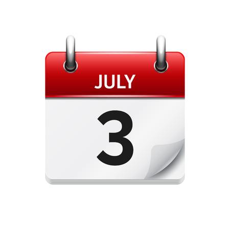 7 월 3 일. 벡터 플랫 일일 캘린더 아이콘입니다. 날짜 및 시간, 일, 월. 휴일. 스톡 콘텐츠 - 54054380