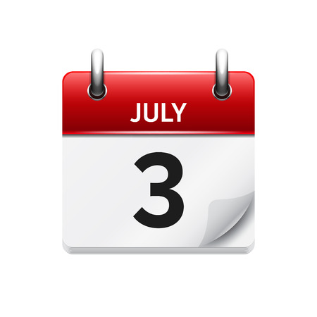 July 3 . Vector flat daily calendar icon. Date and time, day, month. Holiday. Çizim