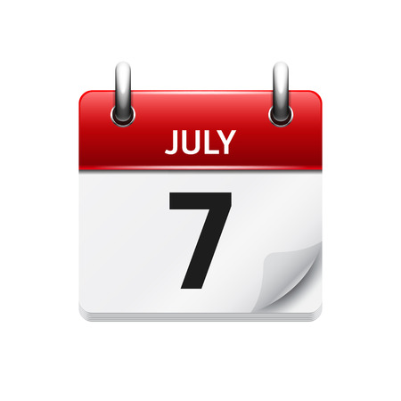 July 7 . Vector flat daily calendar icon. Date and time, day, month. Holiday.