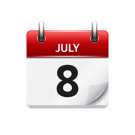 time of day: July 8 . Vector flat daily calendar icon. Date and time, day, month. Holiday.