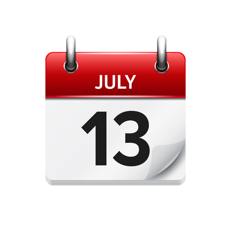 13: July 13 . Vector flat daily calendar icon. Date and time, day, month. Holiday. Illustration
