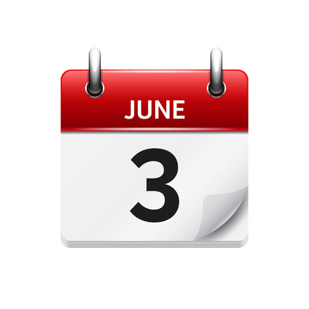 June 3 . Vector flat daily calendar icon. Date and time, day, month. Holiday.