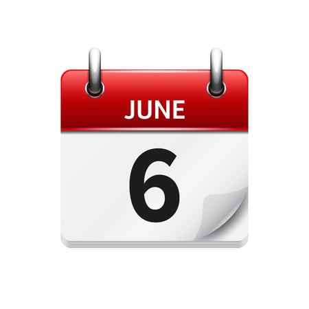 6 juin. Vecteur plat calendrier icône quotidienne. Date et heure, jour, mois. Vacances.