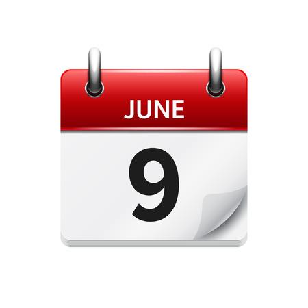 9 juin. Icône de calendrier quotidien plat vecteur. Date et heure, jour, mois. Vacances.