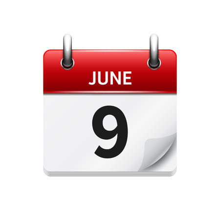 June 9 . Vector flat daily calendar icon. Date and time, day, month. Holiday.