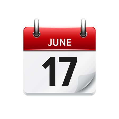 17: June 17 . Vector flat daily calendar icon. Date and time, day, month. Holiday. Illustration