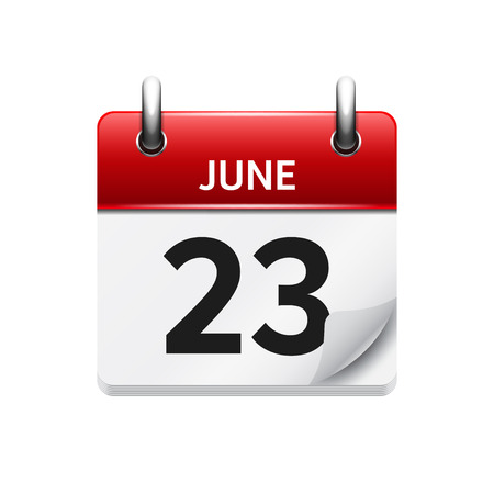 23: June  23. Vector flat daily calendar icon. Date and time, day, month. Holiday. Illustration