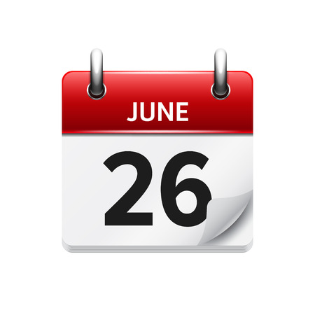 26: June  26. Vector flat daily calendar icon. Date and time, day, month. Holiday.