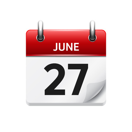 27: June 27 . Vector flat daily calendar icon. Date and time, day, month. Holiday.