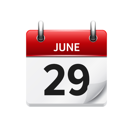 time of the day: June  29. Vector flat daily calendar icon. Date and time, day, month. Holiday.