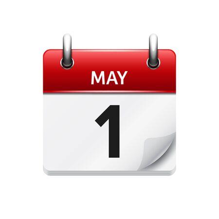 Mayo 1 . Vector plana icono de calendario diario. Fecha y hora, día, mes. Fiesta. Ilustración de vector