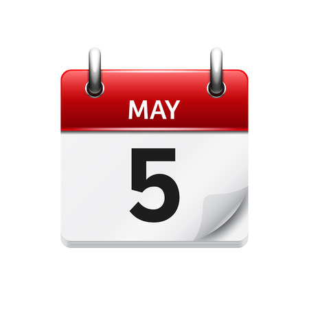 calendar day: May  5. Vector flat daily calendar icon. Date and time, day, month. Holiday.