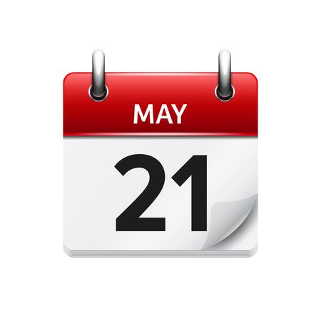 5 月 21 日。カレンダーのアイコンをベクトル フラット毎日。日付と時刻、日、月です。休日。