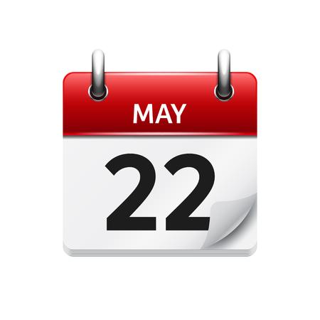 5 月 22 日。カレンダーのアイコンをベクトル フラット毎日。日付と時刻、日、月です。休日。