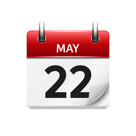 May  22. Vector flat daily calendar icon. Date and time, day, month. Holiday. Иллюстрация