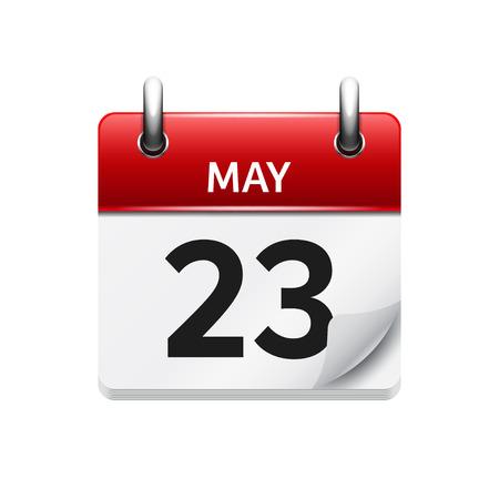 5 月 23 日。カレンダーのアイコンをベクトル フラット毎日。日付と時刻、日、月です。休日。