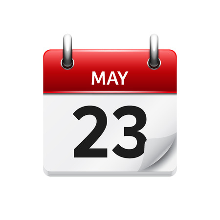 time of the day: May 23 . Vector flat daily calendar icon. Date and time, day, month. Holiday.