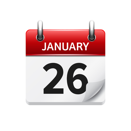 26: January 26. Vector flat daily calendar icon. Date and time, day, month. Holiday.