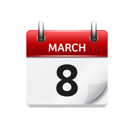 time of the day: March 8. Vector flat daily calendar icon. Date and time, day, month. Holiday.