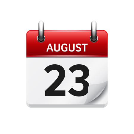 time of the day: August 23. Vector flat daily calendar icon. Date and time, day, month. Holiday.