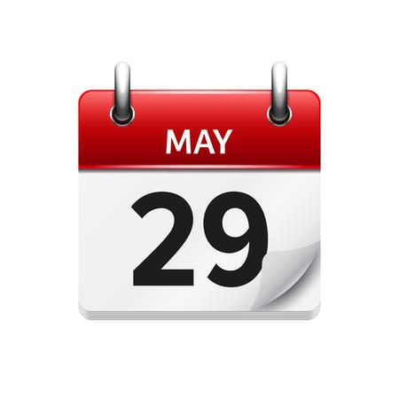 29. Mai Vector flach täglich Kalendersymbol. Datum und Uhrzeit, Tag, Monat. Urlaub.