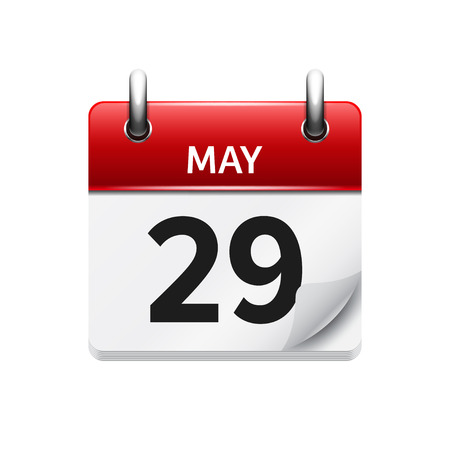 may: May  29. Vector flat daily calendar icon. Date and time, day, month. Holiday.