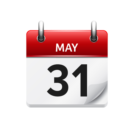 May 31 . Vector flat daily calendar icon. Date and time, day, month. Holiday.