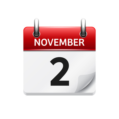 2 november: November 2 . Vector flat daily calendar icon. Date and time, day, month. Holiday.