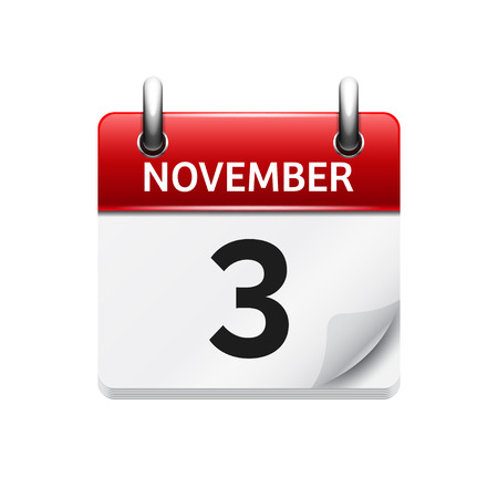 calendar day: November  3. Vector flat daily calendar icon. Date and time, day, month. Holiday.