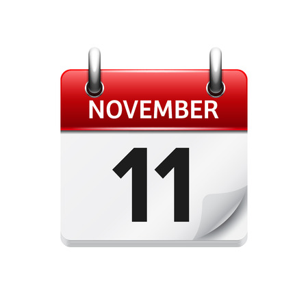November  11. Vector flat daily calendar icon. Date and time, day, month. Holiday. 向量圖像