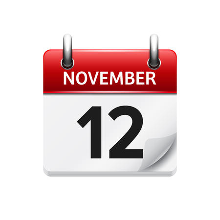 november: November  12. Vector flat daily calendar icon. Date and time, day, month. Holiday. Illustration