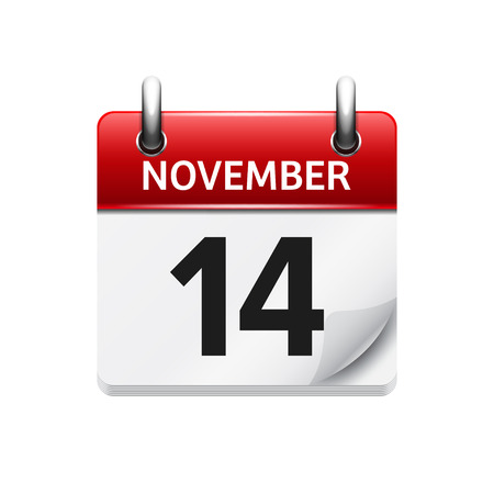14: November  14. Vector flat daily calendar icon. Date and time, day, month. Holiday.