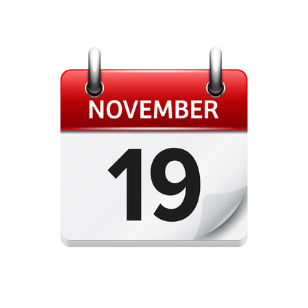 19: November 19 . Vector flat daily calendar icon. Date and time, day, month. Holiday.