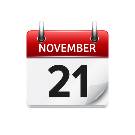 time of the day: November 21 . Vector flat daily calendar icon. Date and time, day, month. Holiday. Illustration