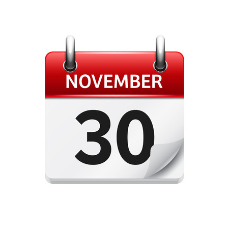 November  30. Vector flat daily calendar icon. Date and time, day, month. Holiday. Stok Fotoğraf - 54056980