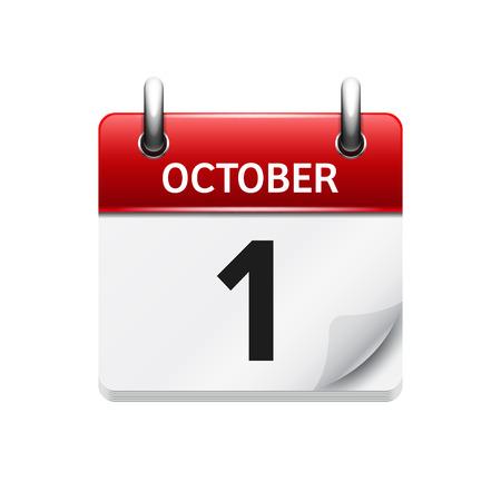 1 oktober Vector flat dagelijkse kalender icoon. Datum en tijd, dag, maand. Holiday.