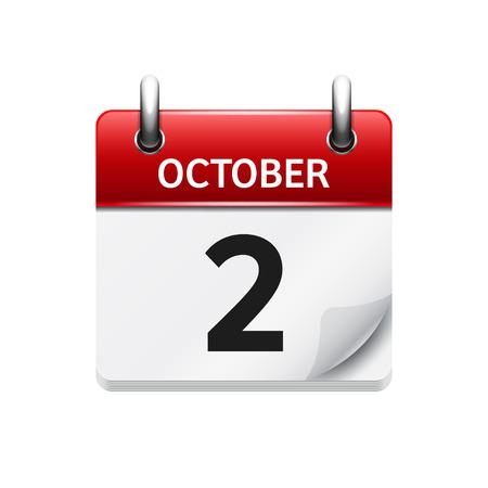 2. Oktober. Vektor flach tägliches Kalendersymbol. Datum und Uhrzeit, Tag, Monat. Urlaub. Vektorgrafik