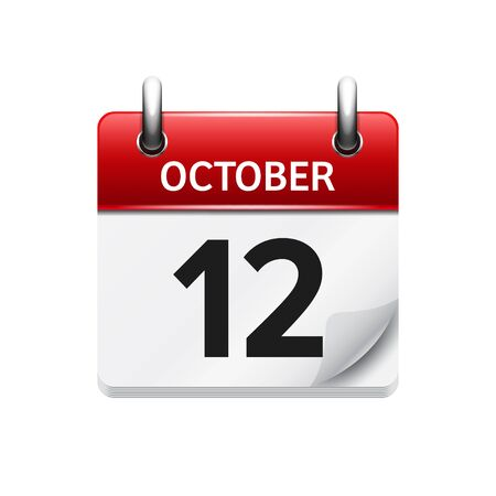 a 12: October 12 . Vector flat daily calendar icon. Date and time, day, month. Holiday.