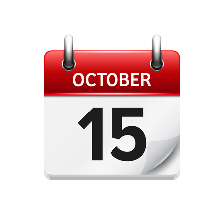 15. Oktober. Vektor flach tägliche Kalendersymbol. Datum und Uhrzeit, Tag, Monat. Urlaub. Vektorgrafik