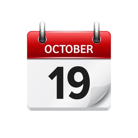 19. Oktober Vector flach täglich Kalendersymbol. Datum und Uhrzeit, Tag, Monat. Urlaub. Vektorgrafik
