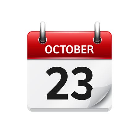 23. Oktober Vector flach täglich Kalendersymbol. Datum und Uhrzeit, Tag, Monat. Urlaub.