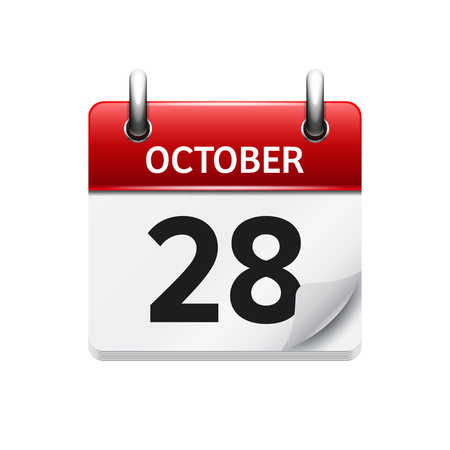 28: October  28. Vector flat daily calendar icon. Date and time, day, month. Holiday.