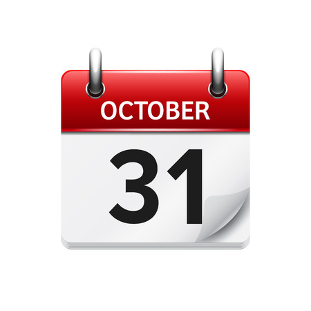 time of the day: October 31 . Vector flat daily calendar icon. Date and time, day, month. Holiday.
