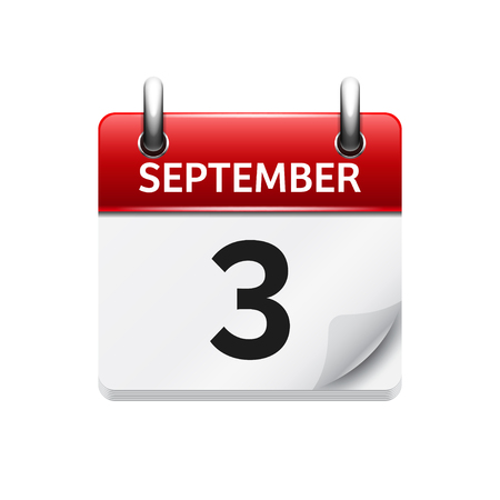 September  3. Vector flat daily calendar icon. Date and time, day, month. Holiday.