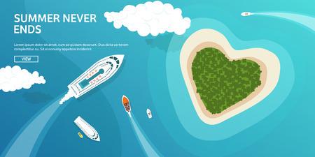 Vector illustration. Tropical island. Summer holidays, vacation. Sun, ocean, sea. Travel. Blue lagoon. Oasis, seascape. Illustration