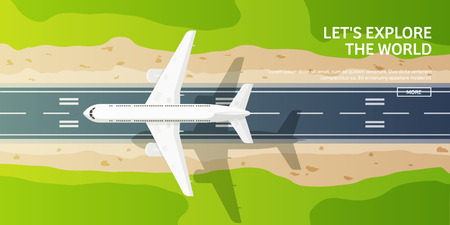 plane landing: Vector illustration. Travel and tourism. Airplane, aviation. Summer holidays, vacation. Plane landing. Flight, air travelling.  Sky, aerial background. Journey.